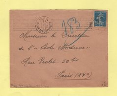 Krag - Paris Gare D Austerlitz - 7 Lignes Droites Inegales + Bloc Dateur 4 Lignes - 17 Sept 1923 - Marcophilie (Lettres)