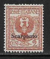 Italy Aegean Islands Scarpanto Scott # 1 Mint Hinged Italy Stamp Overprinted, 1912 - Aegean (Scarpanto)