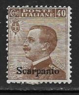 Italy Aegean Islands Scarpanto Scott # 7 Mint Hinged Italy Stamp Overprinted, 1912 - Aegean (Scarpanto)