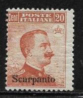 Italy Aegean Islands Scarpanto Scott # 10 Mint Hinged Unwatermarked Italy Stamp Overprinted, 1917.thin, CV$140.00 - Aegean (Scarpanto)