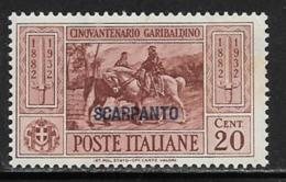 Italy Aegean Islands Scarpanto Scott # 18 Mint Hinged Italy Garibaldi Stamp Overprinted, 1932 - Aegean (Scarpanto)