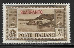 Italy Aegean Islands Scarpanto Scott # 24 Mint Hinged Italy Garibaldi Stamp Overprinted, 1932 - Aegean (Scarpanto)