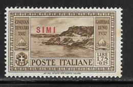 Italy Aegean Islands Simi Scott # 24 Mint Hinged Italy Garibaldi Stamp Overprinted, 1932, Small Edge Stain - Aegean (Simi)