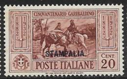 Italy Aegean Islands Stampalia Scott # 18 Mint Hinged Italy Garibaldi Stamp Overprinted, 1932 - Aegean (Stampalia)