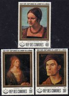 Comores N° 238 / 40 X  450ème Anniv. De La Mort D' A. Dürer  Les 3 Valeurs Trace De Charnière Sinon TB - Comores (1975-...)