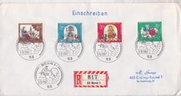 EINSCHREIBEN. WOHLFAHRTSMARKE SERIE. FDC 1967 BONN, GERMAY. 5 COLOR STAMP RECOMMANDE- BLEUP - FDC: Buste