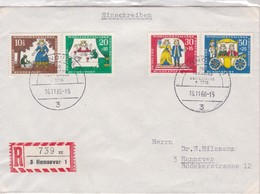 ENVELOPPE CIRCULEE HANNOVER 1966 GERMANY RECOMMANDE 4 COLOR STAMPS- BLEUP - [7] Repubblica Federale