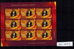 E01 Belarus 2018 Belarusian Fire Service. Sheetlet Of 9 Stamps Mi Postfrisch - Bielorussia