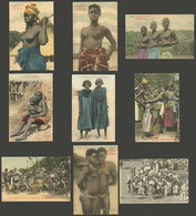 FRENCH WEST AFRICA: 9 Old Cards With Ethnic Views Of The Population Of That African Region, 1 Sent To Buenos Aires, The  - Cartes Postales