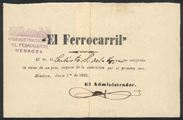 ARGENTINA: Receipt For A Suscription To The Newspaper EL FERROCARRIL Of Mendoza During June 1883, Torn In 2 And Repaired - Manuscrits