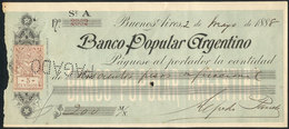 ARGENTINA: Check Of Banco Popular Argentino, Year 1888, With Revenue Stamp Of 5c. Affixed, VF Quality, Rare! - Manuscrits