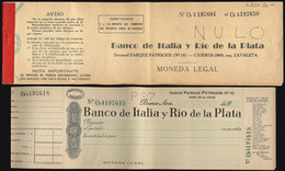 ARGENTINA: Old Checkbook With Several Dozens Unused Cheques Of Banco De Italia Y Río De La Plata, Excellent Quality, Rar - Manuscrits