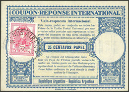 ARGENTINA: Nice International Reply Coupon (IRC) Of AU/1949, Value 35 Centavos Papel + Additional  5c. Postage, VF! - Manuscrits