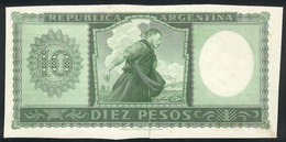 ARGENTINA: Die Proof Of Back Side Of A Banknote Of 10P. (circa 1950), Printed On Green Color On Thick Paper With Glazed  - Manuscrits