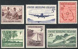 COCOS ISLANDS: Sc.1/6, 1963 Bird, Airplane, Map And Other Topics, Compl. Set Of 6 Unmounted Values, Excellent Quality, C - Cocos (Keeling) Islands
