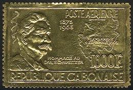 GABON: Sc.C39, 1965 Albert Schweitzer, Gold Foil, MNH, Excellent And Rare! - Gabon