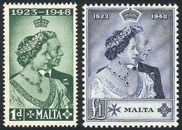 MALTA: Sc.223/224, 1949 Royal Wedding, Cmpl. Set Of 2 Values, Mint Very Lightly Hinged, VF Quality! - Malte (Ordre De)