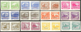 NICARAGUA: Set Of 12 Imperforate Pairs With Views Of Buildings Before And After The 1931 Earthquake, Overprinted OFICIAL - Nicaragua