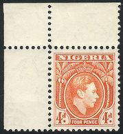NIGERIA: Sc.59, 1938/51 4p. Orange, MNH, Sheet Corner, Superb! - Nigeria (1961-...)