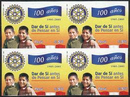 PERU: Sc.1490, 2006 Centenary Of Rotary Internacional, IMPERFORATE BLOCK OF 4, Excellent Quality, Rare! - Peru