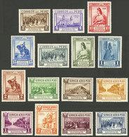 PERU: Sc.324/331 + C6/C12, 1935 Lima 400 Years, Cmpl. Set Of 15 Values, Mint Very Lightly Hinged, Very Fine Quality! - Peru