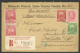 PERU: 25/JA/1901 Lima - Germany, Registered Cover Franked With 1.08S., With Attractive Seals On Back Of Eduardo Polack,  - Peru