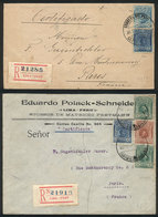 PERU: First And Second Rating For Registered Covers To France, Via Panama Canal: Covers Sent From Lima To Paris On 31/JU - Peru