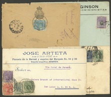 PERU: 4 Covers Mailed Overseas Between 1913 And 1917 Via The Panama Canal, With 12c. Postage (all Different), Very Nice! - Peru