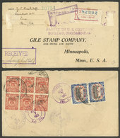 PERU: RARE POSTAGE COMBINATION: Registered Cover Sent From Lima To USA On 15/JUL/1913 Franked On Back With 22c. Combinin - Peru