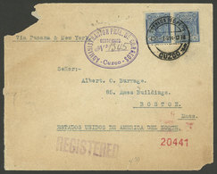 PERU: 30/MAR/1914 Cuzco - USA, REGISTERED Cover With Unusual Postage Of 20c., With Attractive Violet Oval Registration M - Peru