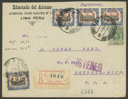 PERU: 6/AP/1914 Lima - USA, Registered Cover Franked With 34c. Corresponding To A Double Rate Via The Panama Canal (24c. - Peru