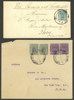 PERU: 2 Covers Sent In Circa 1915 To Paris And USA, Both Franked With 12c., VF Quality! - Peru