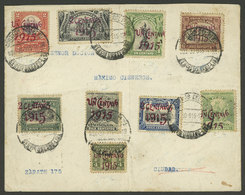 PERU: Cover Used In Lima On 30/NO/1915, Franked With 9 Values Of The Set Of 10 Provisionals Sc.187/195 (missing The Sc.1 - Peru