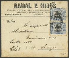 PERU: 6/OC/1920 Arequipa - Santiago De Chile, Cover Franked With 10c. (Sc.20 Pair), Very Attractive! - Peru
