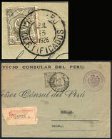 PERU: Large Part Of A Registered Official Cover Sent To Switzerland On 13/JUL/1926 With Official 50c. Postage (Sc.O30),  - Peru