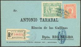 URUGUAY: 23/SE/1925 Montevideo - Rincón, First Flight, Registered Cover Of VF Quality! - Uruguay