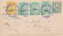ENTERO ENTIER PARAGUAY CIRCULEE 1909 A BERLIN AVEC TIMBRES SURCHARGES, RARISIME- BLEUP - Paraguay
