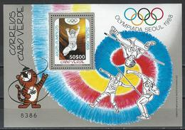 Cape Verde. Scott # 547 MNH S/sheet. Summer Olympic Games Seoul. 1988 - Ete 1988: Séoul