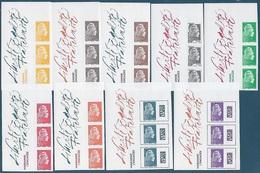 Marianne L'Engagée Non Dentelée - 9 Valeurs Des Feuillets Bande De 3 Bord Gauche (2018) Neuf** - Unused Stamps