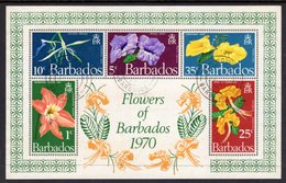 BARBADOS - 1970 FLOWERS MS FINE USED SG MS424 - Barbades (1966-...)