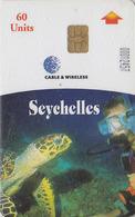 Télécarte Puce SEYCHELLES - ANIMAL - TORTUE & Plongée - TURTLE & Diving Chip Phonecard - SCHILDKRÖTE - 185 - Seychelles