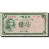 Billet, Chine, 10 Yüan, 1937, 1937, KM:81, TB+ - Chine