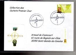 """"""" HARPISTE EGYPTIEN / ADHESIF """" Sur Enveloppe 1er Jour De 2007 De La Collection """" CACHETS PREMIER JOUR """" N°YT ADH 110 - France"""