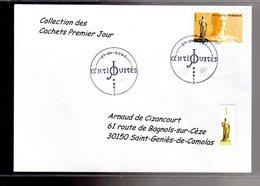 """"""" STATUE DE JUNON / ADHESIF """" Sur Enveloppe 1er Jour De 2007 De La Collection """" CACHETS PREMIER JOUR """" N°YT ADH 109 - France"""