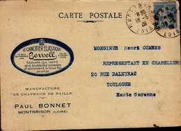 CARTE POSTALE 1928...LE CANOTIER ELASTIQUE....PAUL BONNET A MONTBRISON.. - Cartes-Maximum