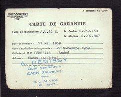 Carte De Garantie 1959 D'un Vélomoteur Motoconfort Vendu Chez A. Demissy Quai Vendoeuvre à Caen 14 - Transport