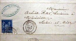 55 ANCERVILLE CACHETS ANCERVILLE  ET TIMBRE FISCAL 10 CENTIMES SUR RECU D'HUISSIER - Postmark Collection (Covers)