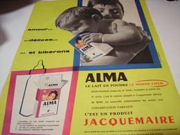ANCIENNE AFFICHE  PUBLICITE LAIT ALMA DE JACQUEMAIRE 1959 - Affiches