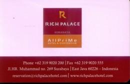 Indonesia Hotel Key, Rich Palace Hotel Surabaya , East Java  (1pcs) - Indonésie