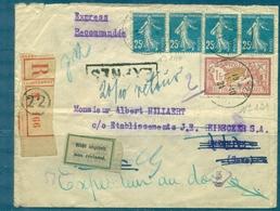 FRANCE Lettre Express Rec. Pour La SAXE 1921 + Retour De CHEMNITZ . Pas Courant - Marcophilie (Lettres)